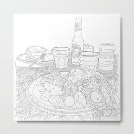 Scottish Beef Steak & Guinness Pie - Line Art Metal Print