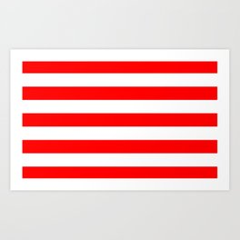Stripe Red and White Lines Art Print