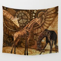 giraffes Wall Tapestries featuring Three Giraffes by Waelad Akadan