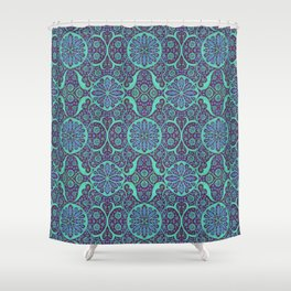 Poppy Pods Mint and Purple Shower Curtain