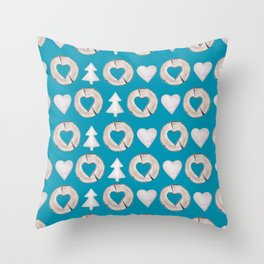 Xmas Classics Teal Throw Pillow