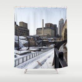 Minneapolis, Minnesota Skyline at the Stone Arch Bridge Shower Curtain