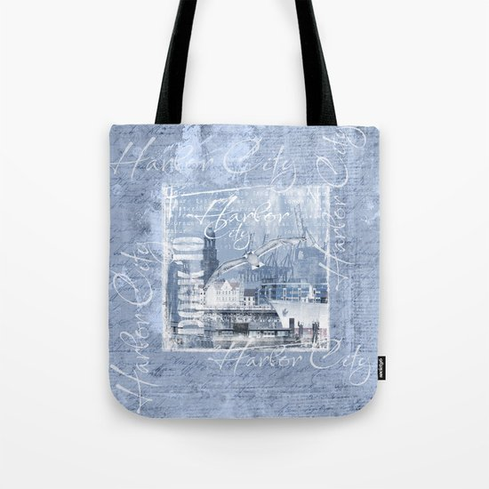 Harbor City Hamburg Germany mixed media Art Tote Bag