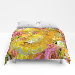 PYTHON SNAKE ROSES AND DANGER Comforters