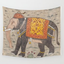 Vintage Decorated Elephant Painting (17th Century) Wall Tapestry