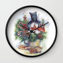 Watercolor Christmas snowman Wall Clock
