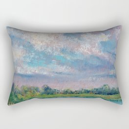 Landscape with lake, fields, forest and blue sky drawing by pastel Rectangular Pillow