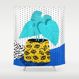 Totes magoats - memphis throwback retro house plant squiggle dot polka dot neon 1980s 80s style art Shower Curtain