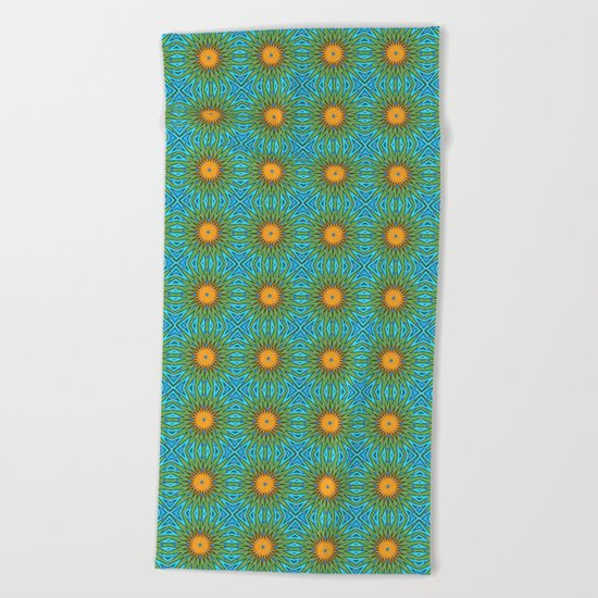 Yellow Salsify Flower Pattern Beach Towel