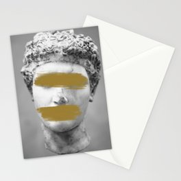 Gold Brush Strokes Marble Statue Stationery Cards