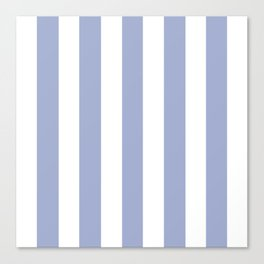 Wild blue yonder - solid color - white vertical lines pattern Canvas Print