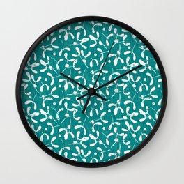 Rustic Mistletoe - Teal Wall Clock
