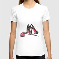 nail polish T-shirts featuring High Heels and nail polish art by Ink&Lace Designs by Lorena Balea-Raitz