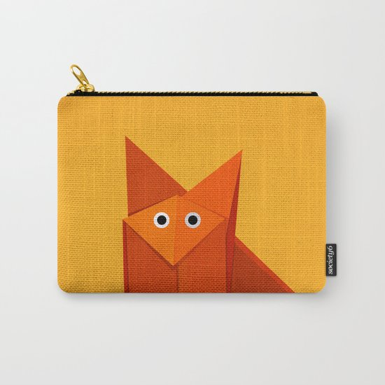 Geometric Cute Origami Fox Portrait Carry-All Pouch