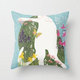 Cat Sleeping in Garden Illustration  Throw Pillow