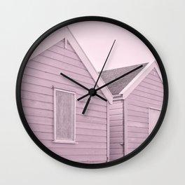 Pastel Pink Beach Huts Wall Clock