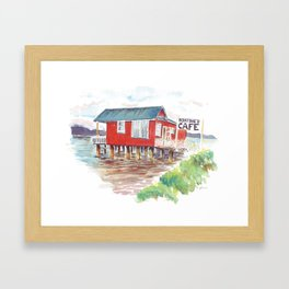 Boatshed cafe Framed Art Print