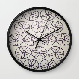 Black and White Flower Pattern Wall Clock