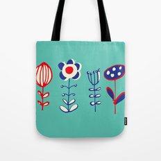 folk floral aqua Tote Bag