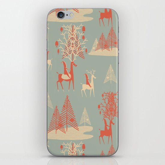 Reindeer, Trees and Elves iPhone & iPod Skin