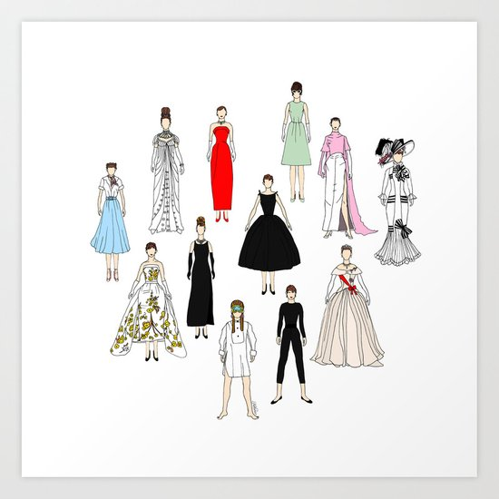 Audrey Fashion Whimsical Layout Art Print
