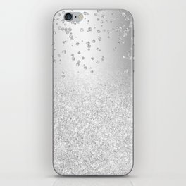 Modern silver glitter ombre metallic sparkles confetti iPhone Skin