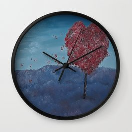 Lavender fields, Love Tree, oil painting by Luna Smith, LuArt Gallery Wall Clock