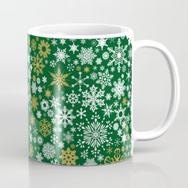 A Thousand Snowflakes in Candy Cane Green Coffee Mug