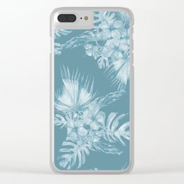 Teal Island Escape Palm Leaves + Flowers Clear iPhone Case