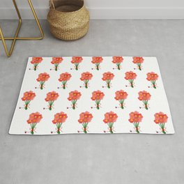 Pink Flower Bouquet for Valentines Day Rug