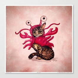 """""""The Lobster"""" by Amber Marine ~ Tabby Cat in Lobster Costume, Watercolor and Ink, (c) 2015 Canvas Print"""