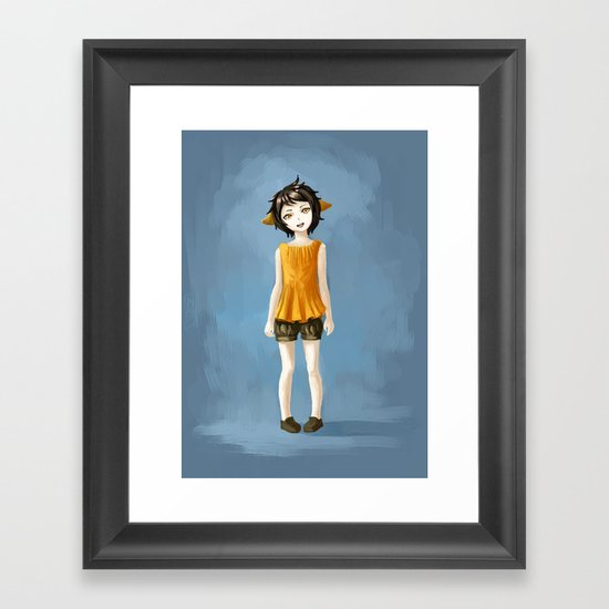 Girl in shorts Framed Art Print