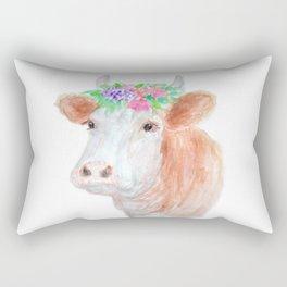 Flower Crown Cow Rectangular Pillow
