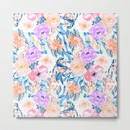 Modern watercolor garden floral paint Metal Print
