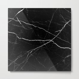 Black marble abstract texture pattern Metal Print
