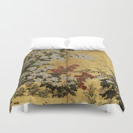 White Red Chrysanthemums Floral Japanese Gold Screen Duvet Cover