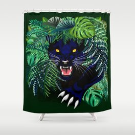 Black Panther Jungle Spirit Shower Curtain