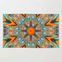 Star shape kaleidoscope with playful patterns Rug