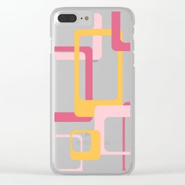 Retro rectangles pink and yellow Clear iPhone Case