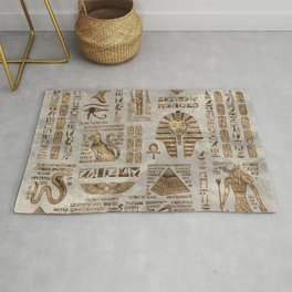 Egyptian hieroglyphs and deities -Vintage Gold Rug