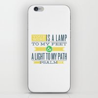 bible verses iPhone & iPod Skins featuring Psalm 119:105 Bible Verses by Tony D'Amico