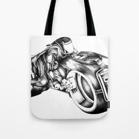 tron Tote Bags featuring tron by liz williams