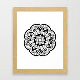 Moroccan black mandala on white Framed Art Print