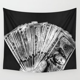 Money - Black And White Wall Tapestry