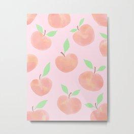Pastel Pink and Orange Summer Peaches - Metal Print