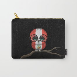 Baby Owl with Glasses and Peruvian Flag Carry-All Pouch