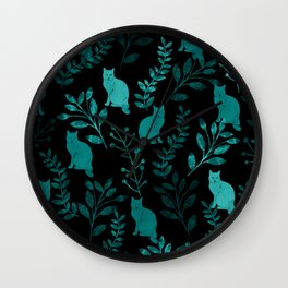 Watercolor Floral and Cat IV Wall Clock