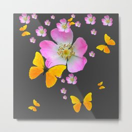 CHARCOAL GREY YELLOW BUTTERFLIES & PINK ROSES Metal Print