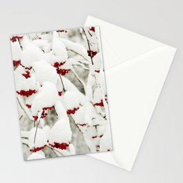 Red berries and snowy tree Stationery Cards