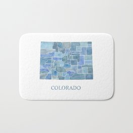 Colorado Counties BluePrint Watercolor Map Bath Mat